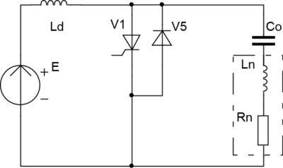 Схема одноключевого согласованного инвертора с закрытым входом и резонансной коммутацией