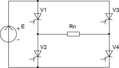 Схема однофазного мостового инвертора напряжения с открытым входом и резистивной нагрузкой