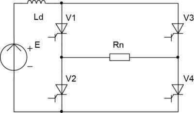 Схема однофазного мостового инвертора тока на двухоперационных вентилях и c резистивной нагрузкой