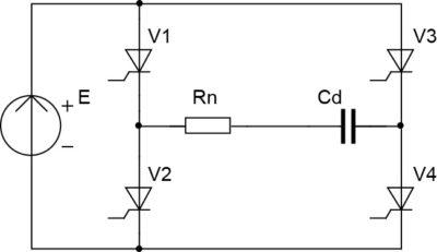 Схема однофазного мостового согласованного инвертора с демпферным конденсатором и открытым входом