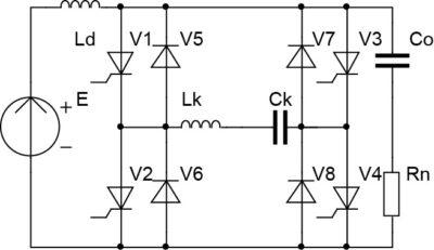 Схема согласованного инвертора с удвоением частоты и встречно-параллельными диодами