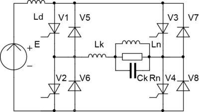 Схема инвертора тока со встречно-параллельными диодами и резонансной (квазирезонансной) коммутацией