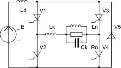Схема инвертора тока со встречным (стабилизирующим) диодом и резонансной коммутацией