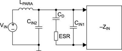 Паразитная входная индуктивность LPARA, входной конденсатор и демпфирующий конденсатор CD с контролируемой величиной ESR