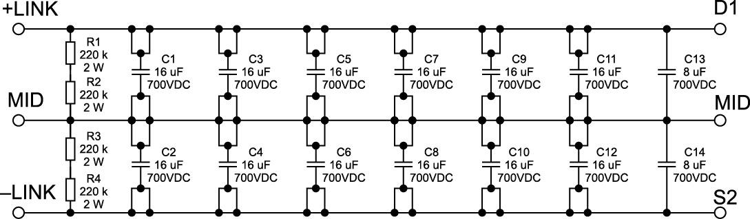 Схема банка конденсаторов звена постоянного тока