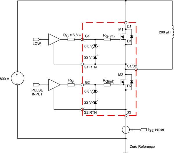 Схема измерения параметров модуля CAS100H12AM1