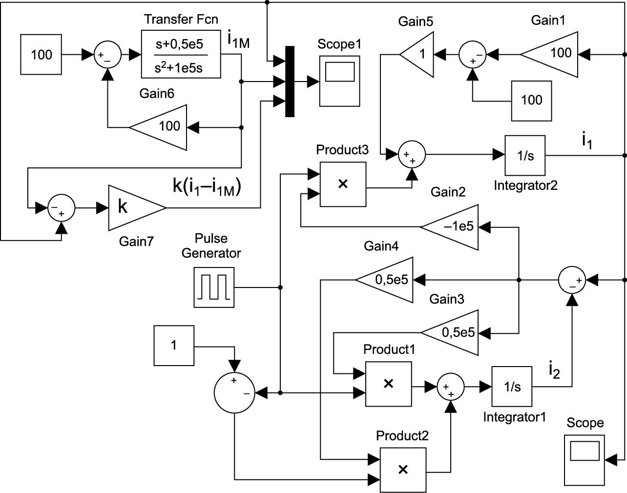 Математическая модель схемы с выравниванием тока в катушках