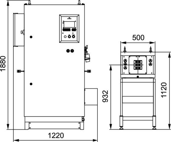 Габаритные размеры преобразователя «ПЕТРА-0501» и согласующий трансформатор с индуктором
