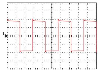 Форма напряжения на стоках транзисторов преобразователя при напряжении питания 9 В