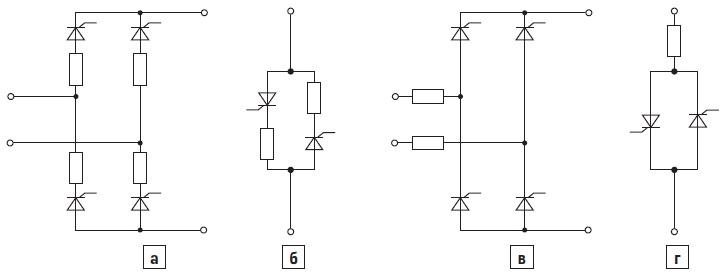 Возможные схемы подключения полупроводниковых предохранителей