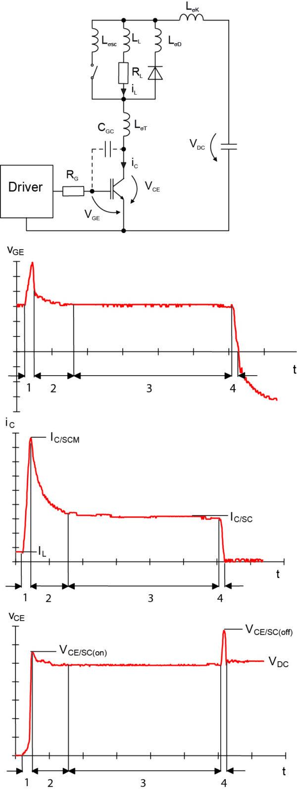 Эквивалентная схема и эпюры сигналов при КЗ 2