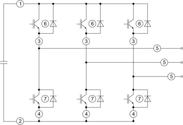 Инвертор напряжения (VSI) с точками детектирования аварийных токов
