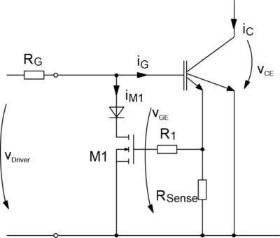 Ограничение тока КЗ за счет снижения напряжения управления VGE