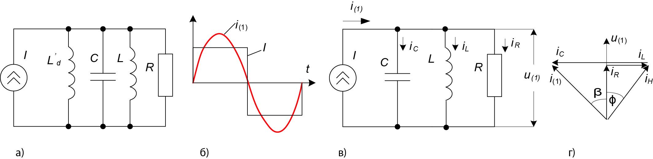 Эквивалентная схема однофазного параллельного инвертора
