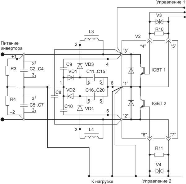 Силовая схема полумостового автономного инвертора на IGBT-модулях со снабберными элементами