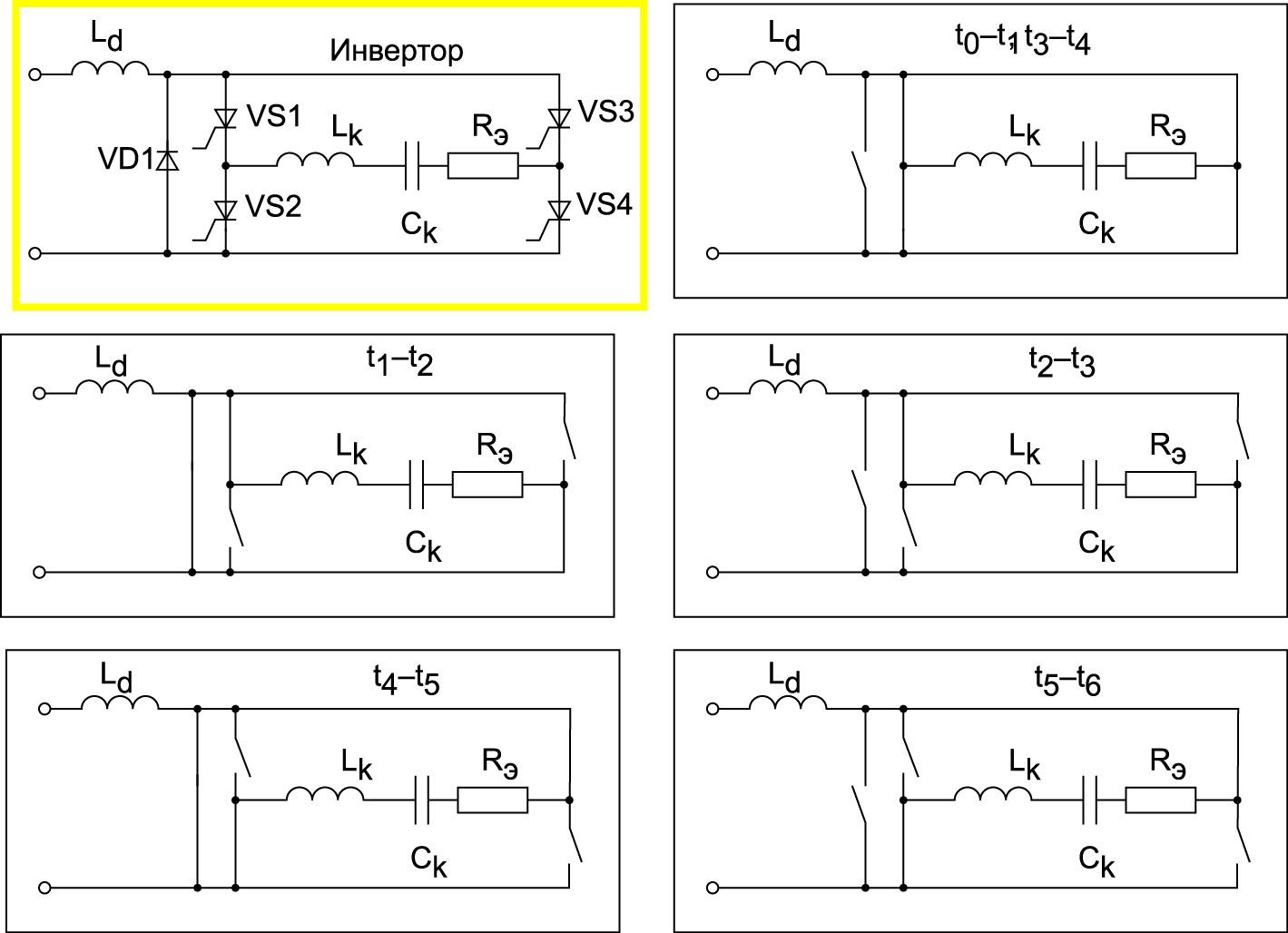 Упрощенная схема автономного мостового инвертора с обратным диодом и схемы его замещения