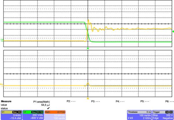 Включение C2M0080120 на частоте 100 кГц (100 нс/дел.)