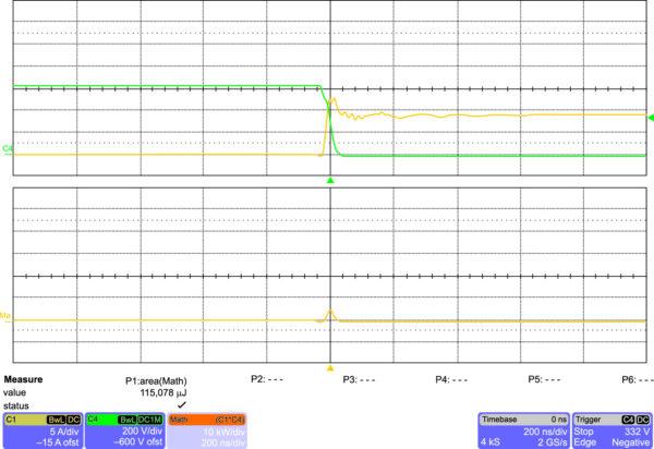 Включение IGW40N120H3 на частоте 20 кГц (200 нс/дел.)
