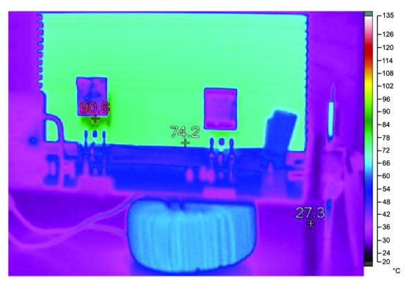 Тепловой профиль при полной нагрузке C2M0080120 на частоте 100 кГц