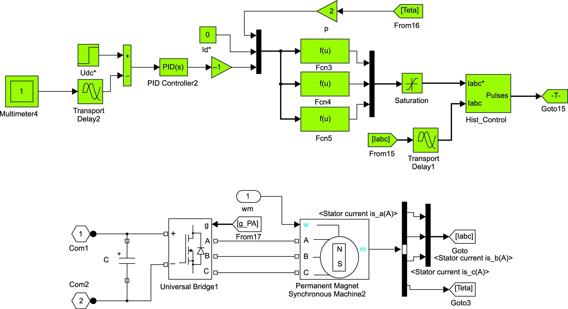 Модель мехатронной системы с магнитоэлектрическим генератором и активным полупроводниковым выпрямителем