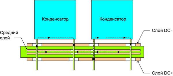 Способ подавления магнитного поля при последовательном соединении конденсаторов