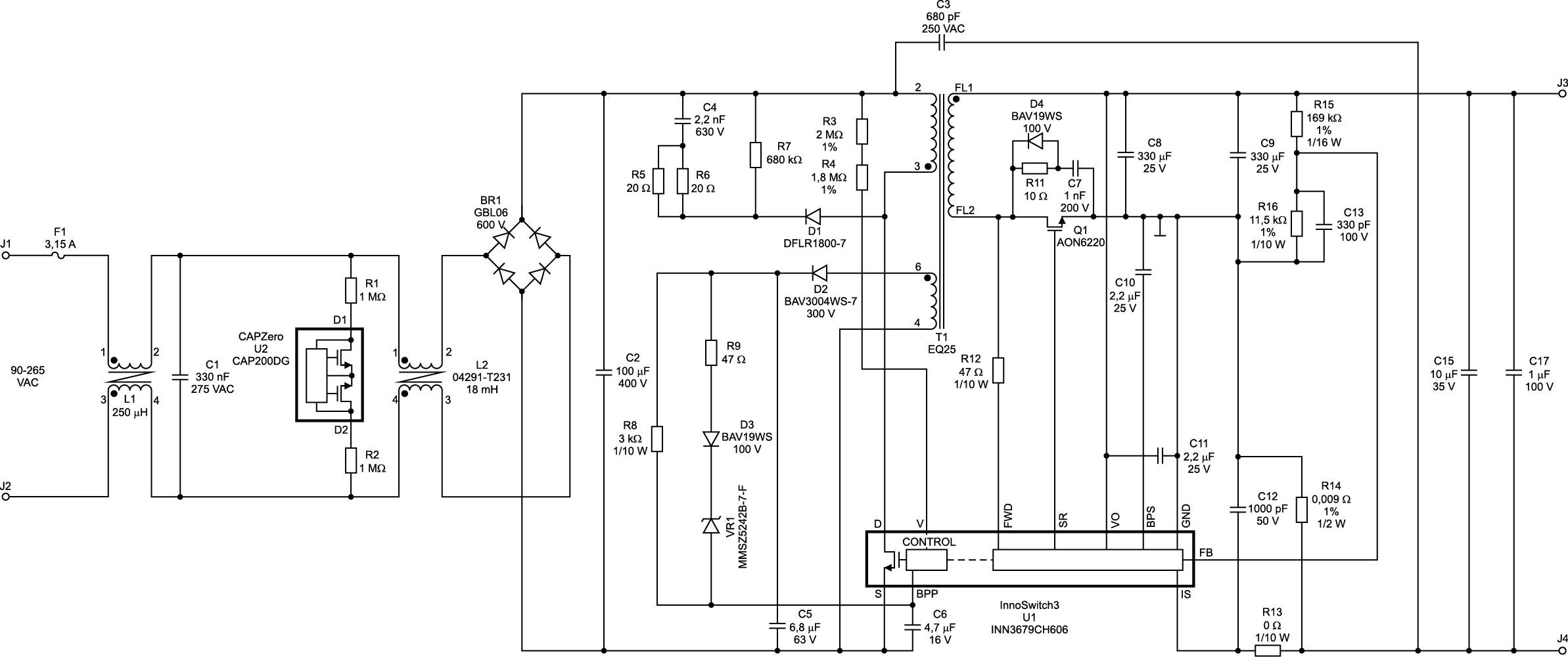 Адаптер DER-747 на базе InnoSwitch3-EP INN3679C. Схема электрическая принципиальная [4]