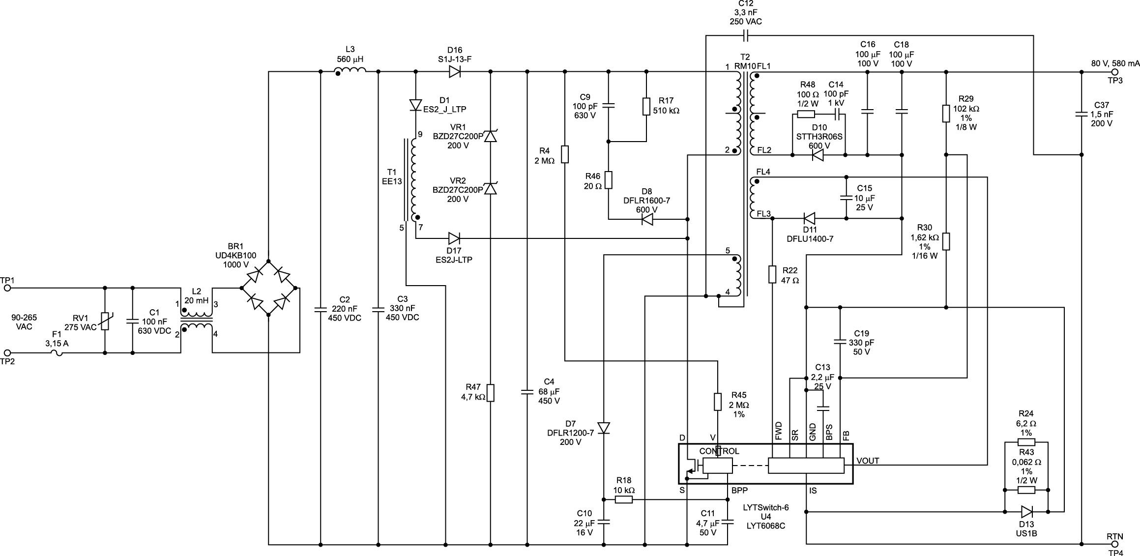 Драйвер светодиодов DER-657 на базе LYTSwitch-6 LYT6068C.  Схема электрическая принципиальная [8]