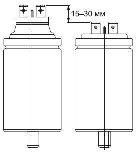 Наглядное изменение размеров конденсатора после срабатывания защитного механизма отизбыточного давления
