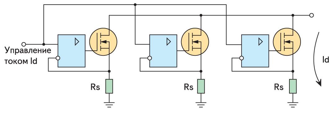 Осуществление линейного режима при параллельном включении транзисторов