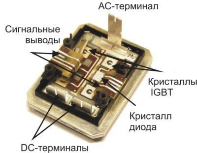 400-А SKiN-модуль (полумост, 600 В, размеры корпуса 74×56×11 мм, вес 95 г)