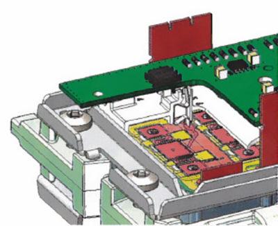 Соединение платы драйвера и DBC-подложки четырехсекционного SKiN-модуля посредством пружинных контактов