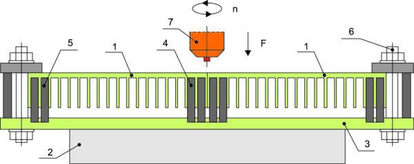 Расположение заготовок охладителя в оснастке для выполнения СТП