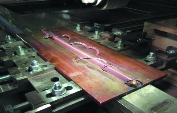 Результат сварки медных шин из сплава М1 толщиной 10 мм