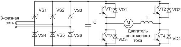Упрощенная схема питания двигателя постоянного тока от трехфазной сети