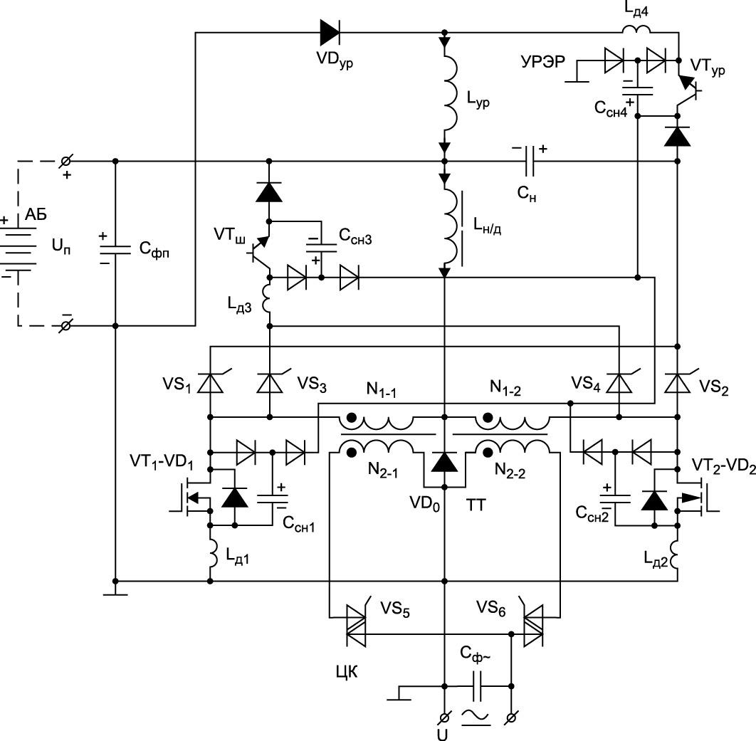 Силовая схема резервно-аккумуляторного ИБП для СЭС~ на базе трансформаторного звена высокой частоты (инвертора прямоугольного тока — ТИПТ) с выходным циклоконвертором (ЦК) и накопительно-демодуляторным реактором (Lн/д).