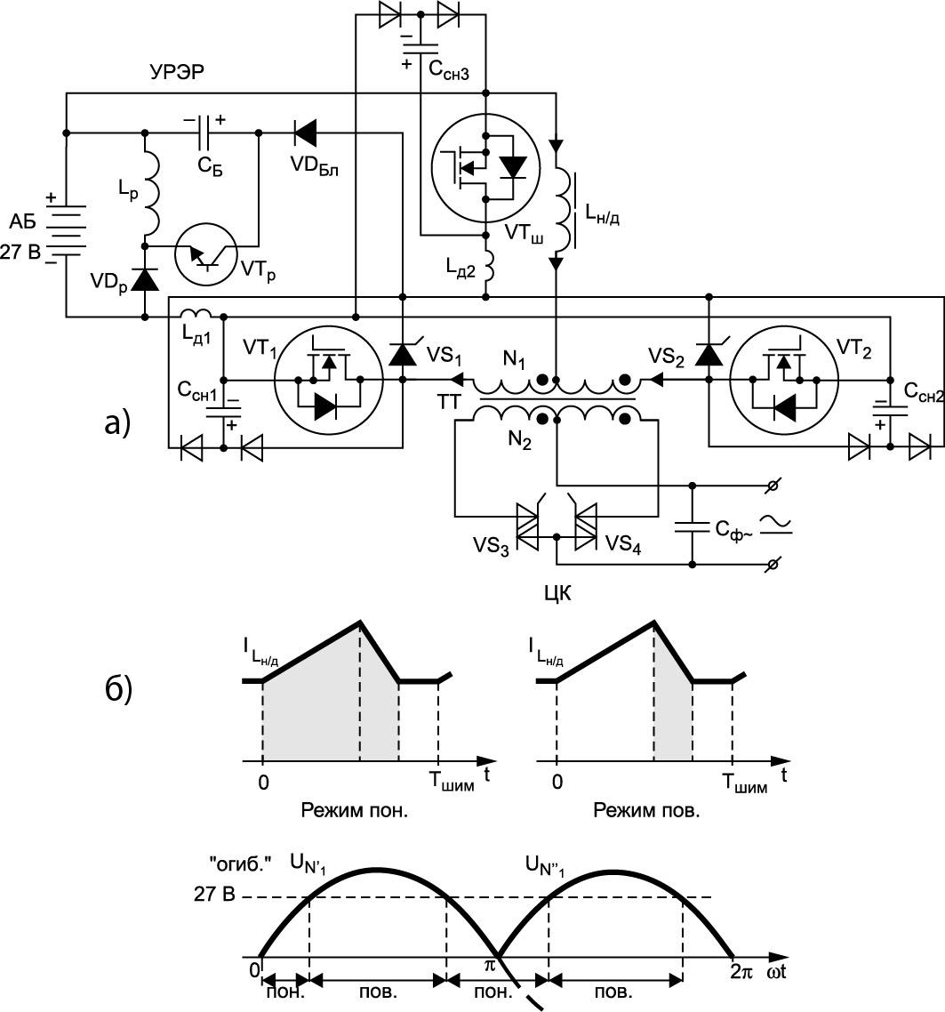 Силовая схема ИБП от резервно-аккумуляторной батареи или суперконденсаторов (ионисторов)