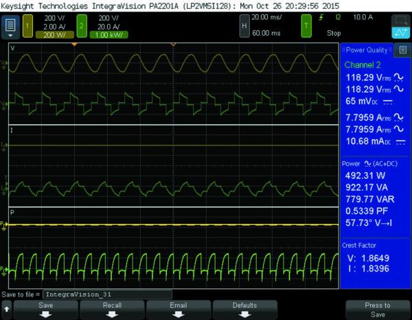 Снимок экрана анализатора мощности IntegraVision, показывающий сигнал переменного напряжения (верхняя зеленая трасса), сигнал переменного тока (средняя зеленая трасса) и сигнал мощности (нижняя зеленая трасса), потребляемой дренажным насосом. Параметры в синем прямоугольнике справа: потребляемая насосом активная и полная мощность (492 Вт и 922 ВА) и коэффициент мощности (0,53)