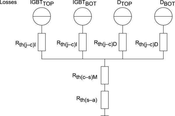 Эквивалентная тепловая схема с общим тепловым сопротивлением «корпус–радиатор» модуля