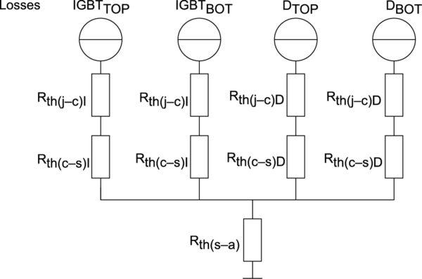 Эквивалентная тепловая схема с раздельными тепловыми сопротивлениями «корпус–радиатор» ключей IGBT и FWD в модулях без базовой платы при Rth(j–s) = Rth(j–s)X + Rth(c–s)X