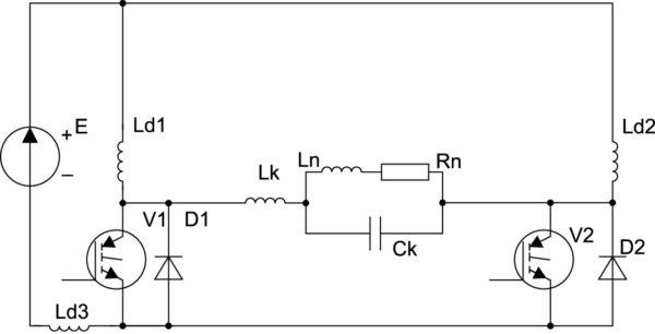 Схема нулевого инвертора тока с квазирезонансной коммутацией