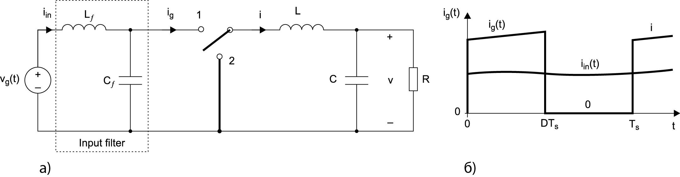 Упрощенная силовая схема понижающего конвертера (ИППН) с входным фильтром нижних частот