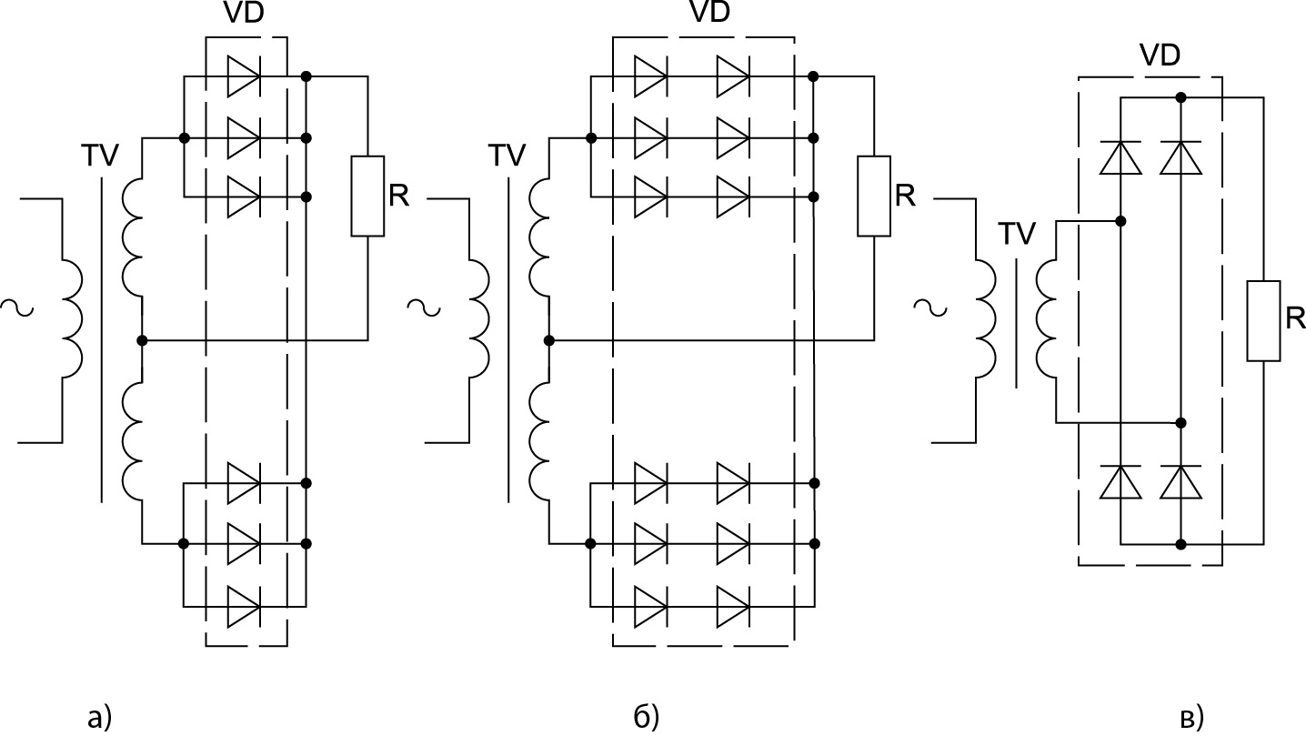 Схемы выпрямителей на нагрузке МИ