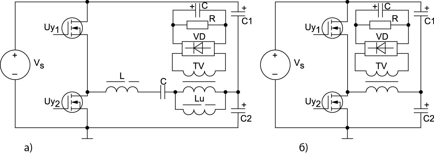 Исследуемые ИН: а) LLC-конвертер; б) полумостовой инвертор напряжения