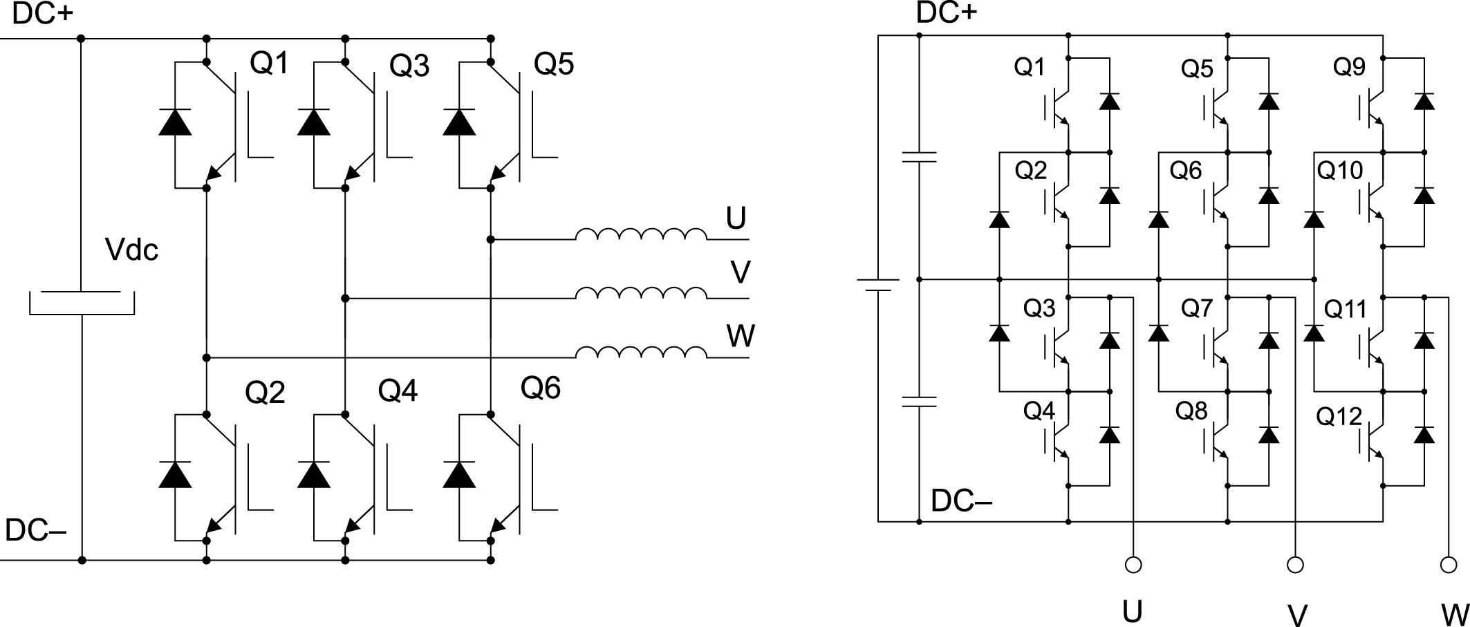 Схемы двухуровневого и трехуровневого трехфазного инвертора. Оба устройства работают в режиме модуляции частоты и напряжения