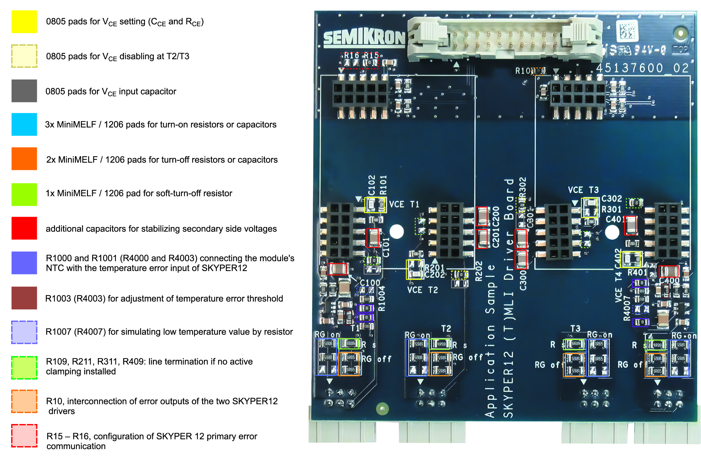 Плата SKYPER 12 (T)MLI Driver Board (вид сверху). Подборные элементы выделены цветными рамками