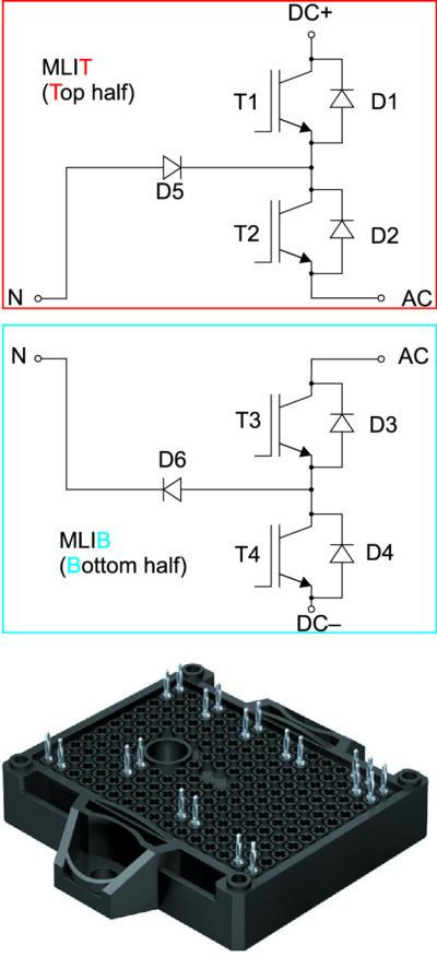 Силовая секция «разделенного» 3L-инвертора (сверху), модуль SEMITOP E2 (снизу)