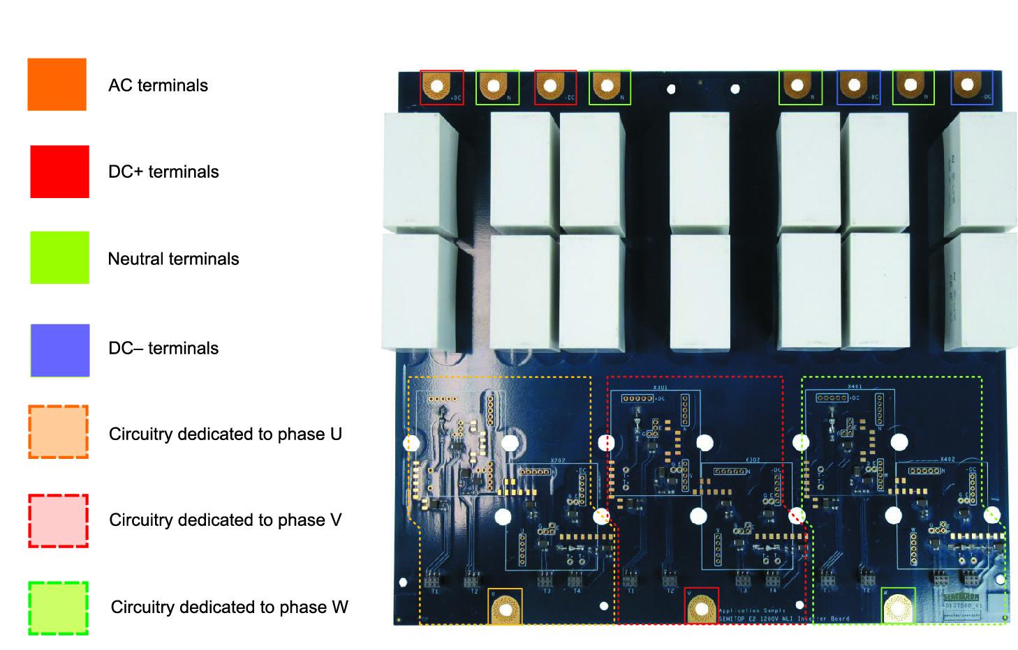 Верхняя сторона платы инвертора, DC- и АС-подключения