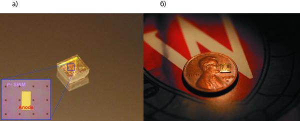 Изображение диодной матрицы на натуральной монокристаллической алмазной пластине и алмазный транзистор