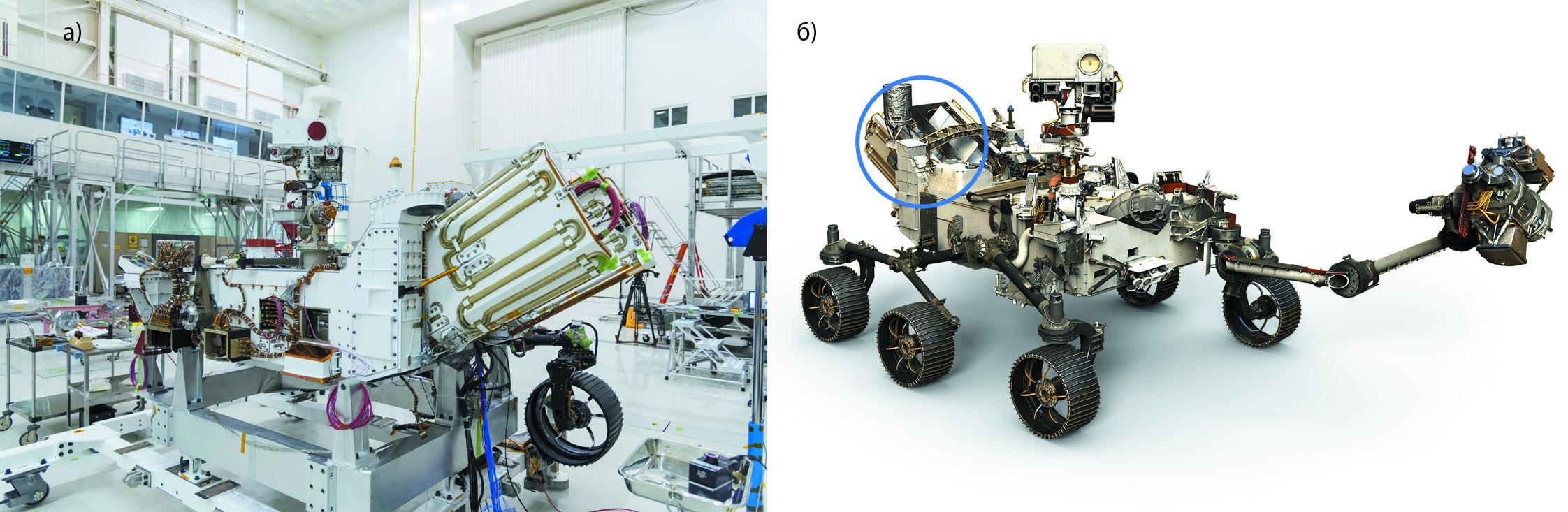 Источник питания РИТЭГ ровера Mars 2020: установка (а) и размещение (б), РИТЭГ выделен синим