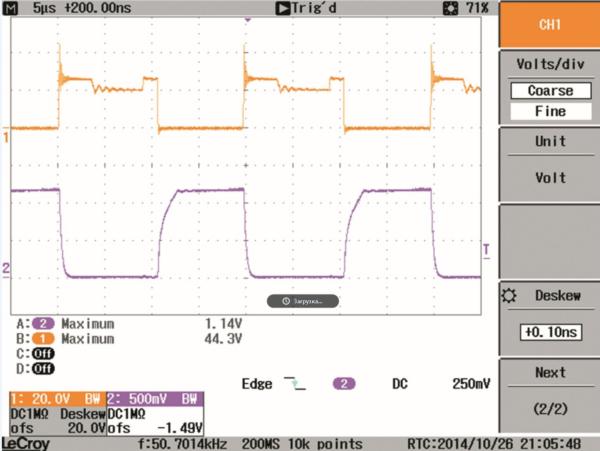 Рис. 7. Напряжение VDS ключевого транзистора (желтый трек, 20 В/дел.) и ток IDS (красный трек, 5 А/дел.) при Vin = 12 В, V0 = 314 В и R0 = 1200 Ом
